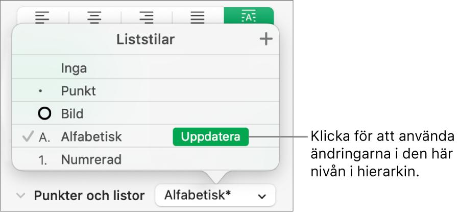 Popupmenyn Liststilar med knappen Uppdatera bredvid namnet på den nya stilen.
