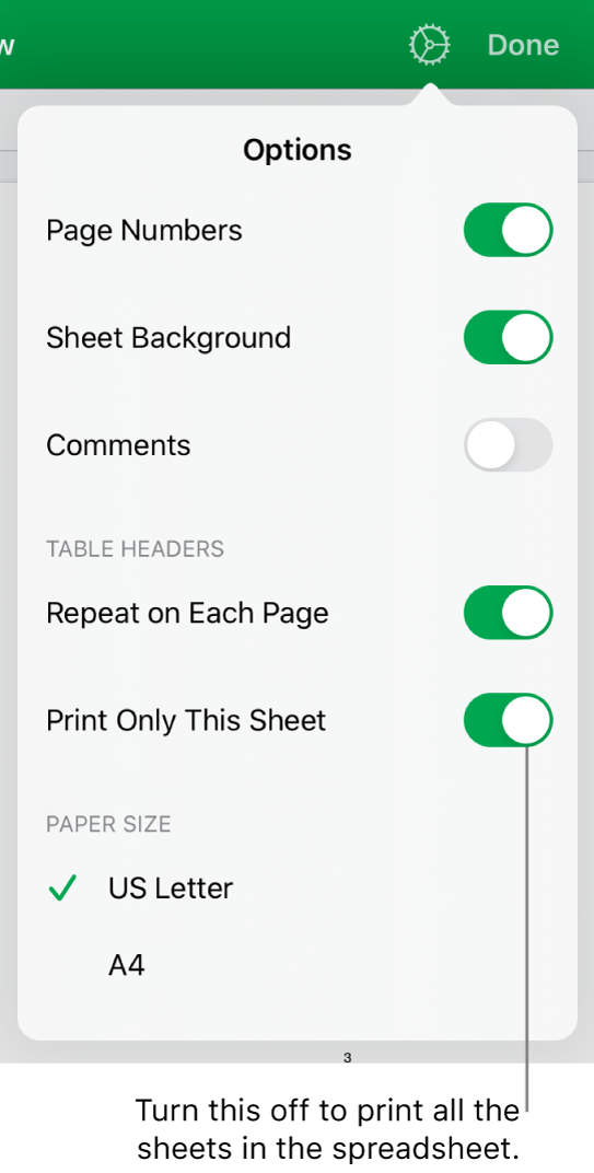 The print preview pane, with controls for showing page numbers, repeating headers on each page, changing the paper size, and choosing to print the entire spreadsheet or only the current sheet.