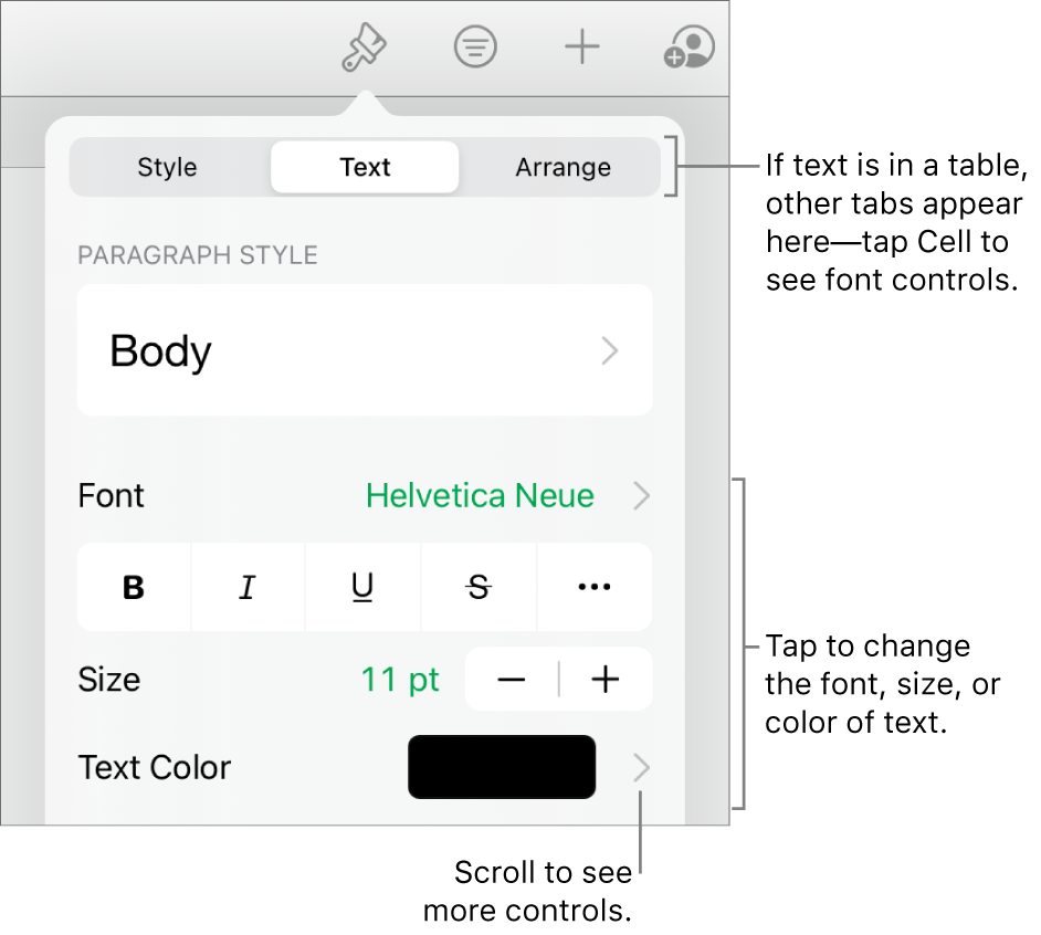 Text controls in the Format menu for setting paragraph and character styles, font, size, and color.