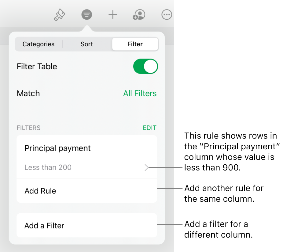 Controls for adding new filtering rules or editing existing ones.