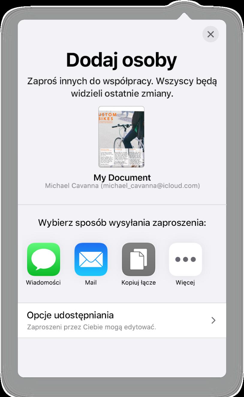 Ekran Dodaj osoby zobrazkiem udostępnianego arkusza kalkulacyjnego. Poniżej widoczne są przyciski różnych sposobów wysyłania zaproszenia, takie jak Mail, Kopiuj łącze oraz Więcej. Na dole znajduje się przycisk Opcje udostępniania.