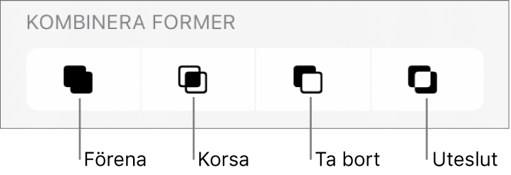 Knapparna Förena, Korsa, Ta bort och Uteslut under Kombinera former.
