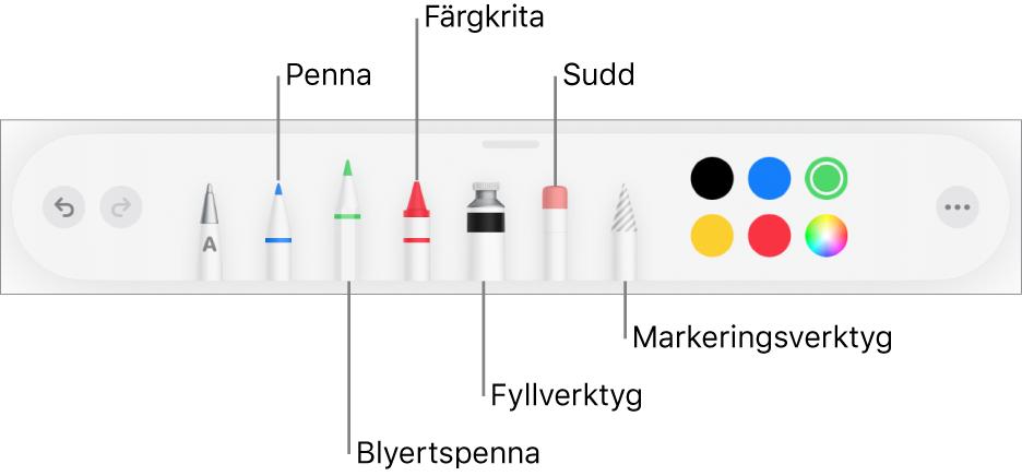 Ritverktygsfältet med en penna, blyertspenna, krita, fyllverktyg, sudd, markeringsverktyg och färger. Längst till höger finns Mer-menyknappen.