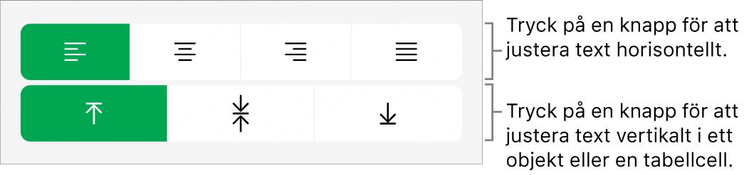 Knapparna för horisontell eller vertikal justering av text.