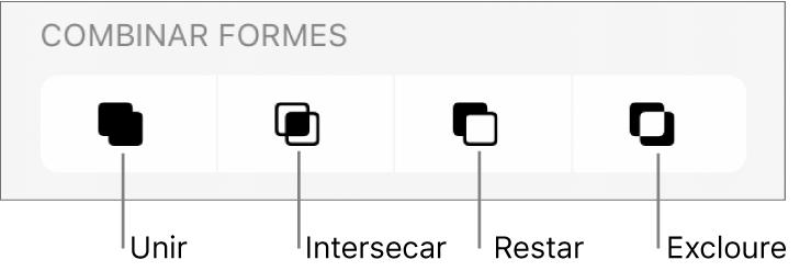 """Els botons Unir, Intersecar, Restar i Excloure, sota """"Combinar formes""""."""