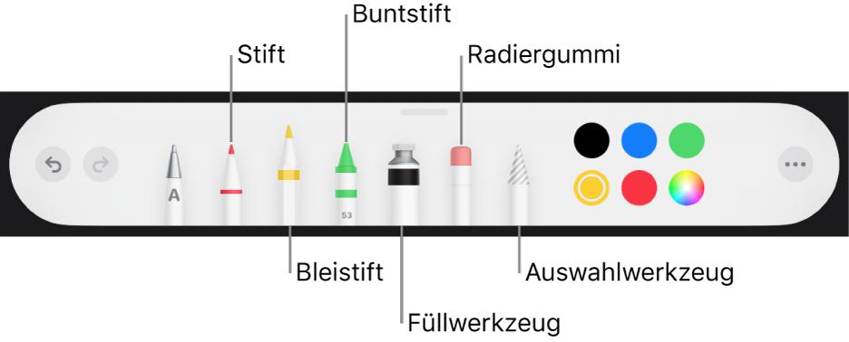Die Zeichen-Symbolleiste mit Werkzeugen wie Stift, Bleistift, Buntstift, Füllwerkzeug, Radiergummiwerkzeug, Auswahlwerkzeug und Farbfeld mit der aktuellen Farbe