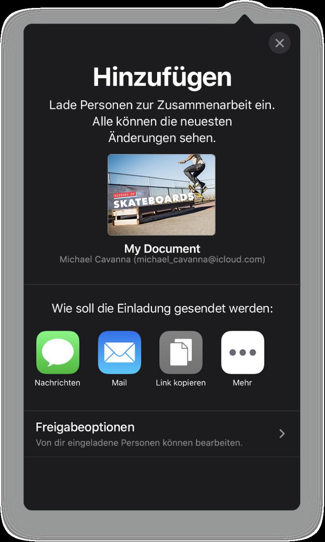 """Im Bildschirm """"Personen hinzufügen"""" wird ein Bild der Präsentation angezeigt, die geteilt werden soll. Darunter befinden sich Tasten für die Optionen zum Senden der Einladung, inkl. Mail, """"Link kopieren"""" und mehr. Unten im Bildschirm ist die Taste """"Freigabeoptionen""""."""