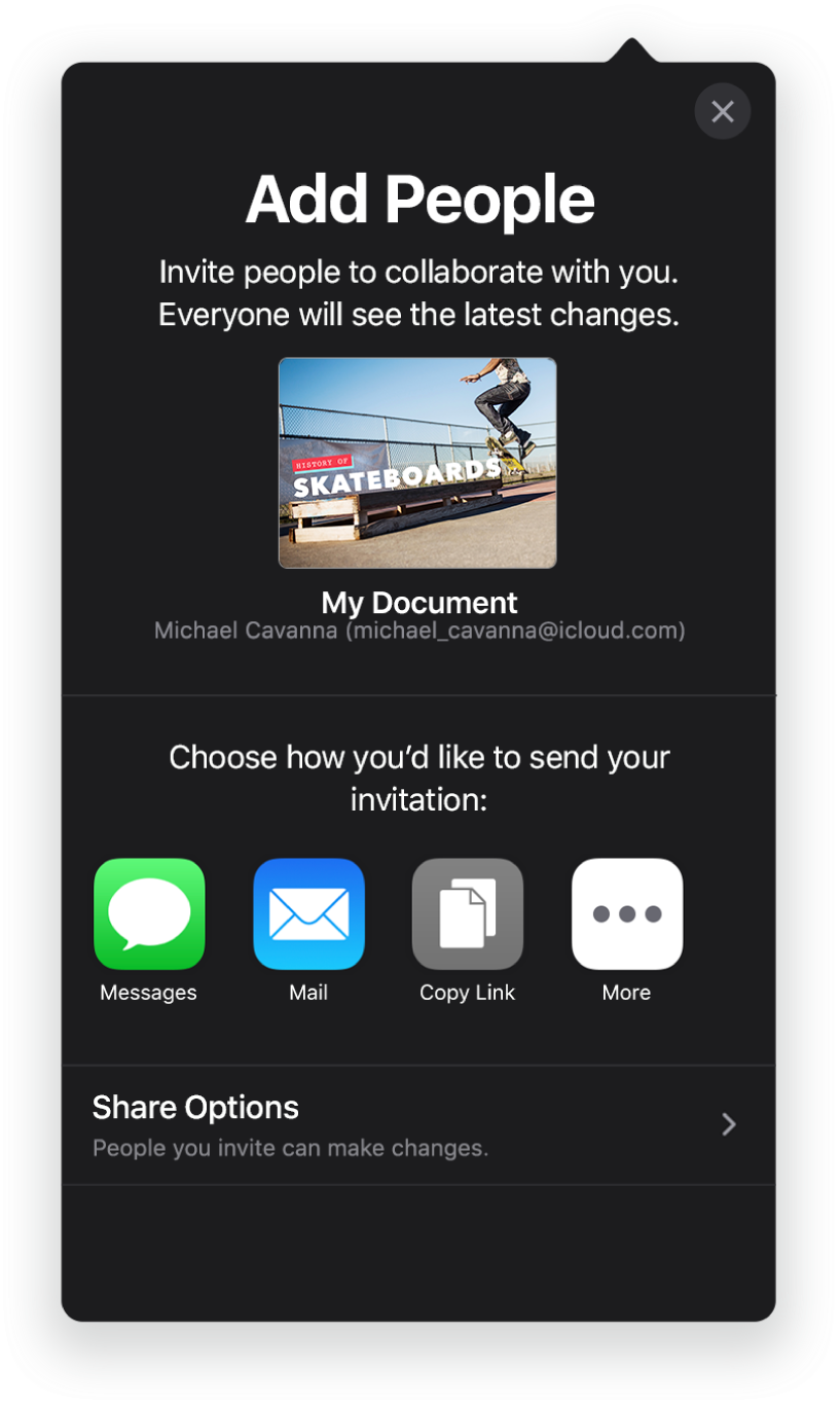 The Add People screen showing a picture of the presentation to be shared. Below it are buttons for ways to send the invitation, including Mail, a Copy Link and More. At the bottom is the Share Options button.