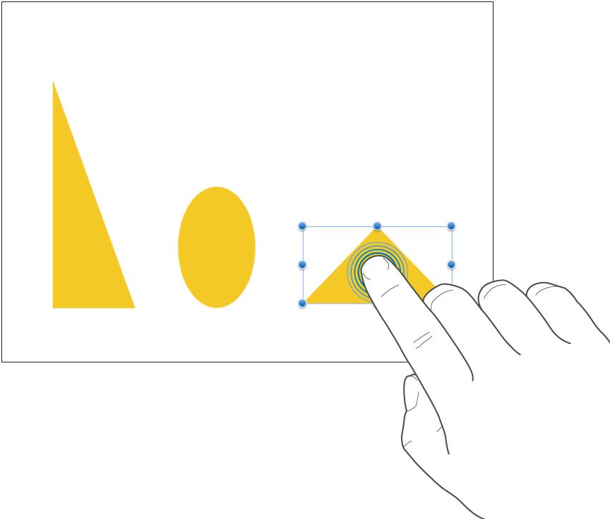 One finger tapping a shape.