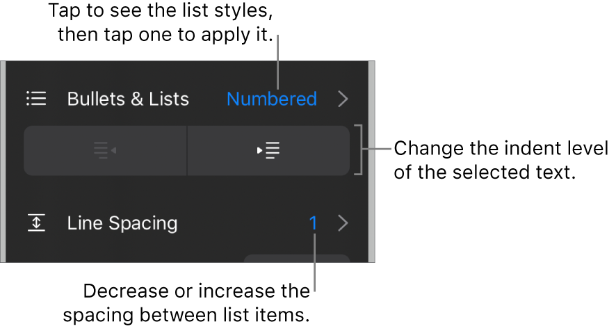 The Bullets & Lists section of the Format controls with callouts to Bullets & Lists, outdent and indent buttons, and line spacing controls.