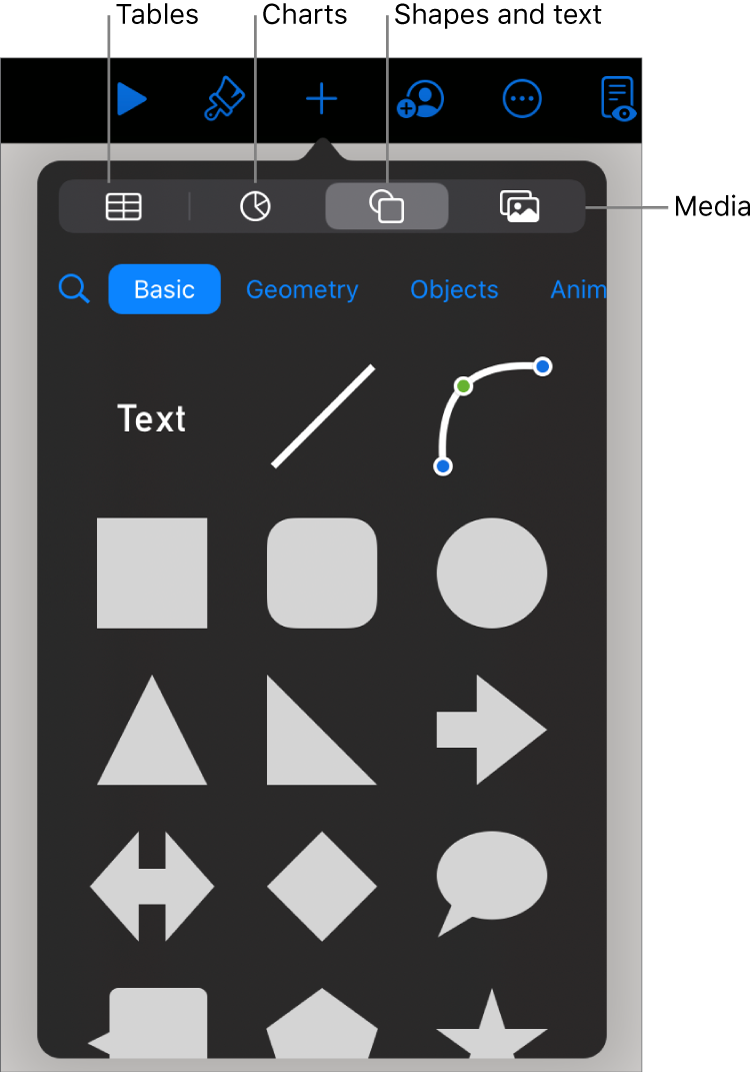 The controls for adding an object, with buttons at the top to choose tables, charts, shapes (including lines and text boxes), and media.