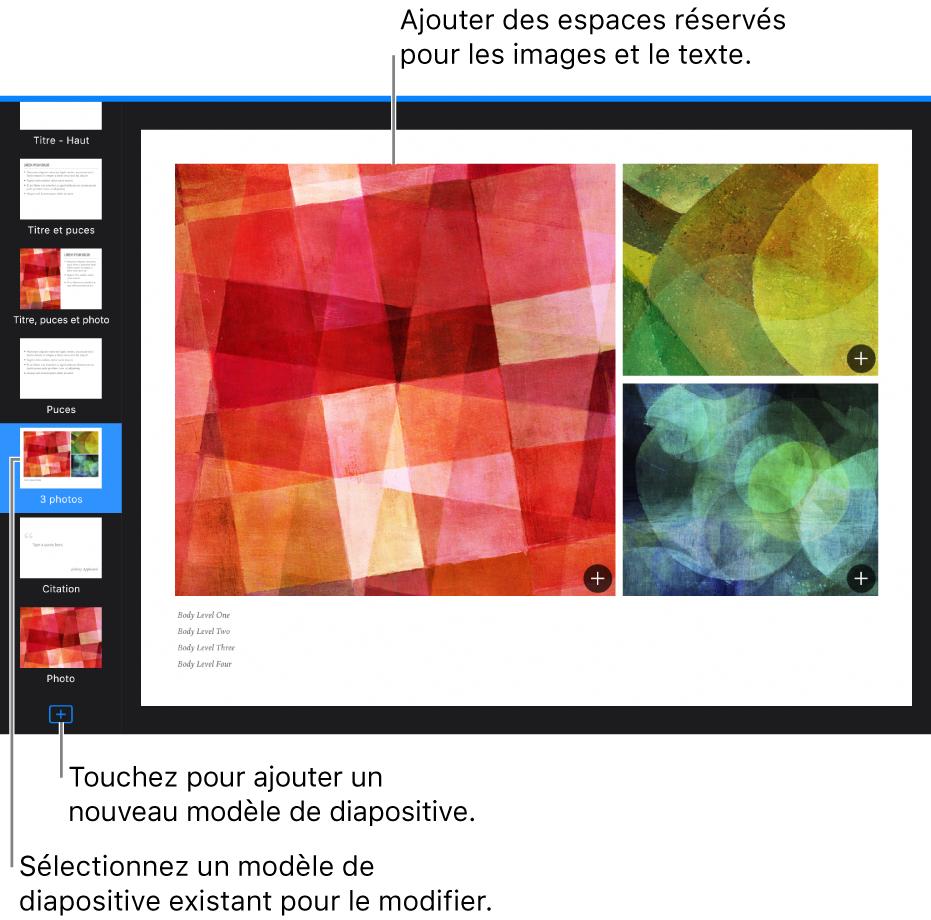 Un modèle de diapositive sur le canevas de diapositive, avec le boutonAjouterunmodèledediapositive en bas du navigateur de diapositives.