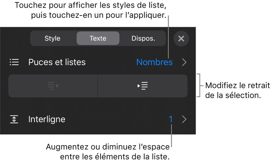 La section Puces et listes des commandes Format avec des légendes indiquant le menu Puces et listes, les boutons de retrait ou de suppression du retrait, et les commandes d'interligne.
