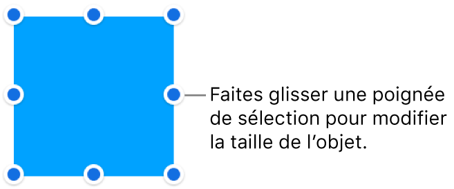 Un objet dont la bordure comporte des points bleus pour modifier sa taille.
