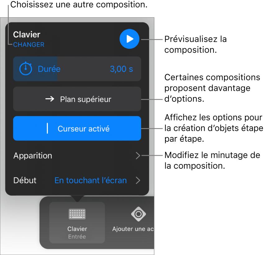 Les options de composition comprennent les options de minutage Durée, Apparition et Début. Touchez Modifier pour sélectionner une autre composition ou touchez Aperçu pour afficher un aperçu de la composition.