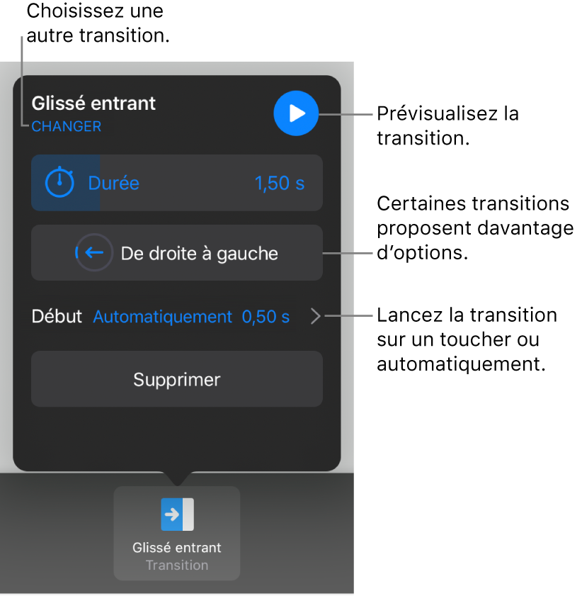 Commandes de la sous-fenêtreOptions permettant de modifier une transition.