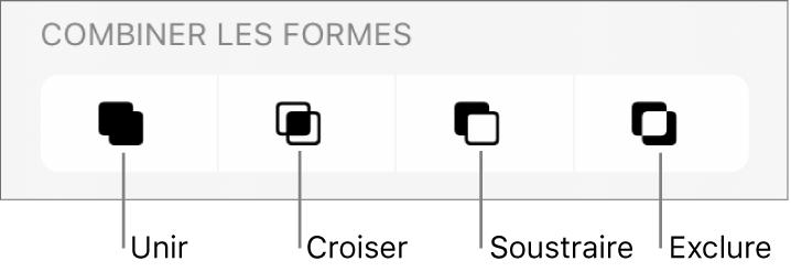 Unir, croiser, soustraire et exclure des boutons sous Combiner les formes.