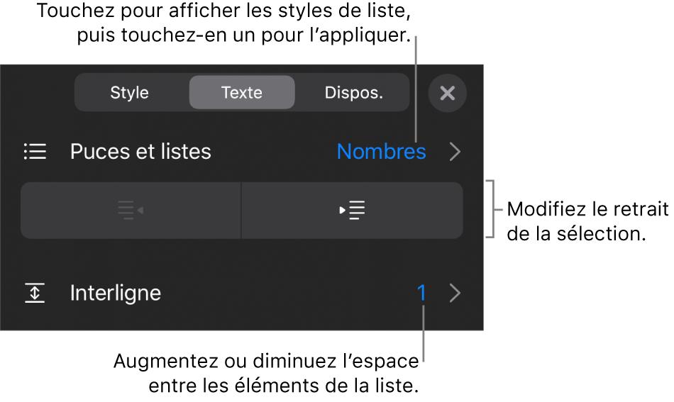La section «Puces et listes» des commandes de mise en forme avec des légendes pour «Puces et listes», les boutons d'indentation et de suppression d'indentation et les commandes d'espacement entre les lignes.