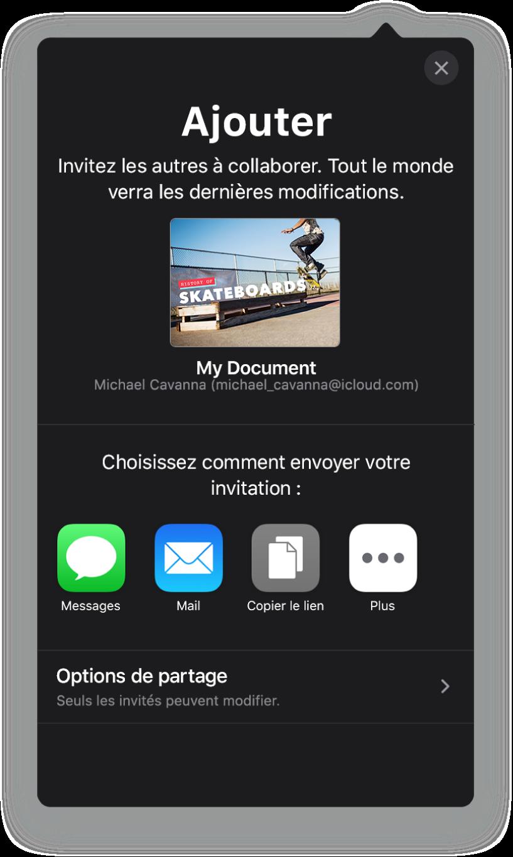 L'écran Ajouter affichant une image de la présentation à partager. Sous celle-ci se trouvent des boutons pour les différentes manières d'envoyer l'invitation, notamment Mail, «Copier le lien» et Plus. Le bouton Options de partage se trouve en bas.