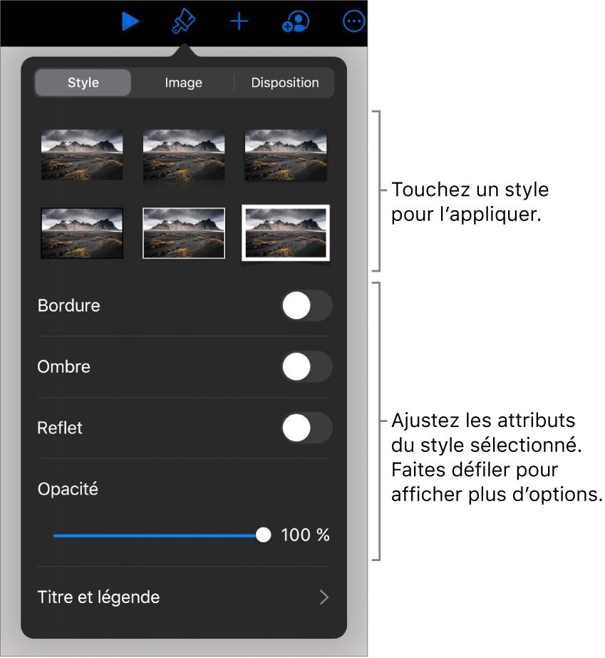 L'onglet Style du menu Format avec les styles d'objet en haut et des commandes au-dessous pour modifier la bordure, l'ombre, le reflet et l'opacité.