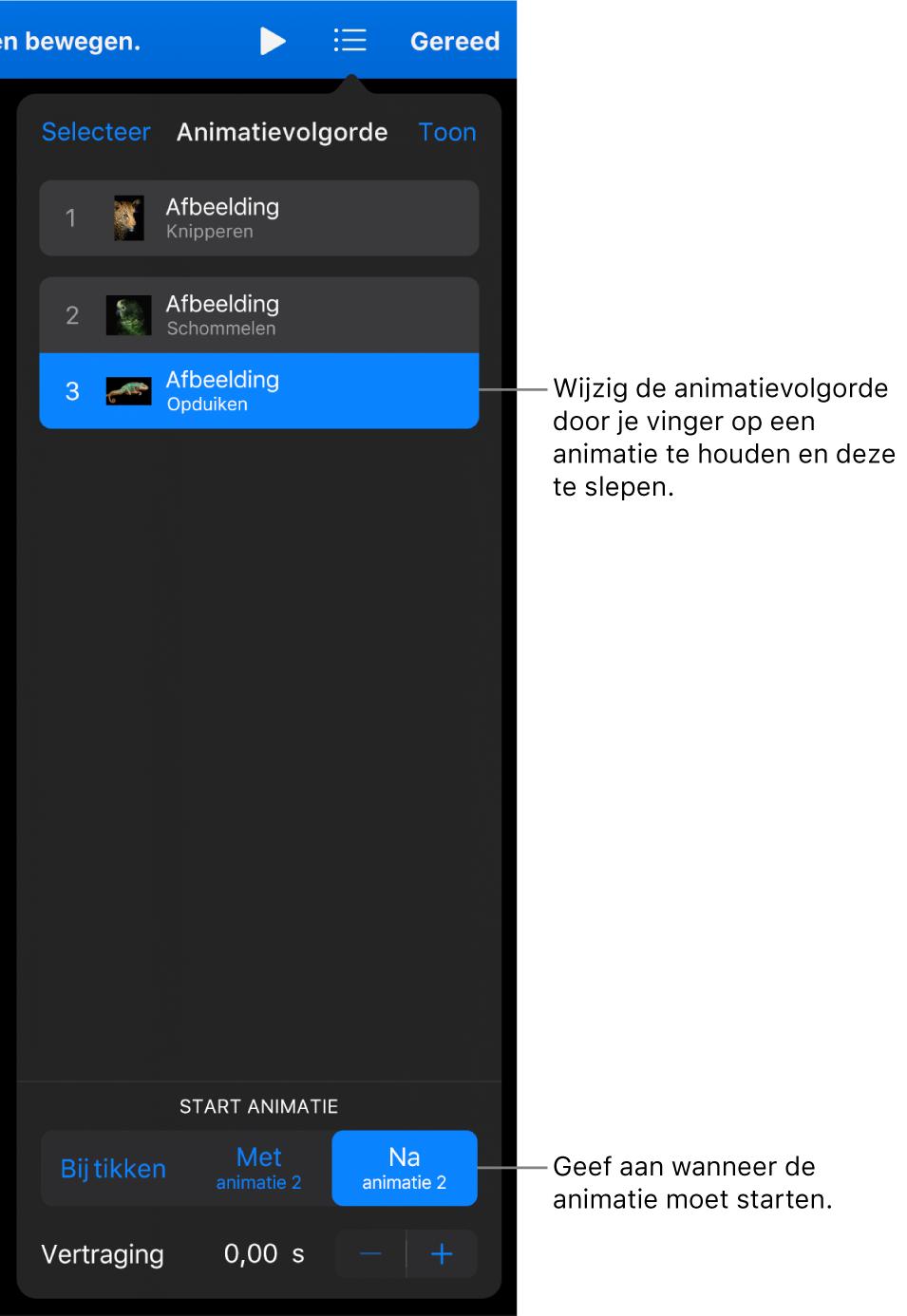 De lijst 'Animatievolgorde' met begineffecten met gele symbolen en eindeffecten met grijze symbolen.