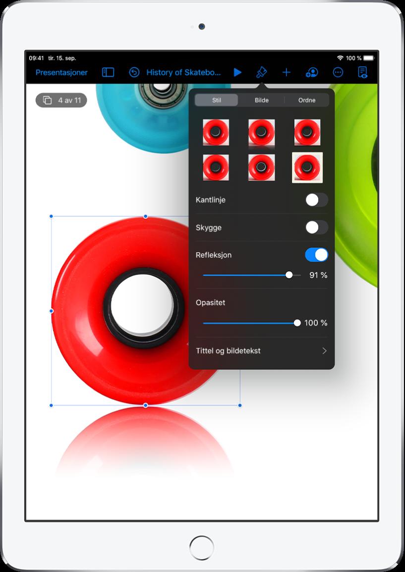 Format-kontrollene for å endre størrelsen og utseendet til det markerte bildet. Stil-, Bilde- og Ordne-knapper er over kontrollene.