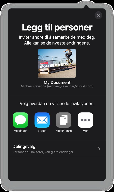 Legg til personer-skjermen som viser et bilde av presentasjonen som skal deles. Nedenfor er knapper for måter å sende invitasjonen på, blant annet Mail, Kopier lenke og Mer. Delingsvalg-knappen er nederst.