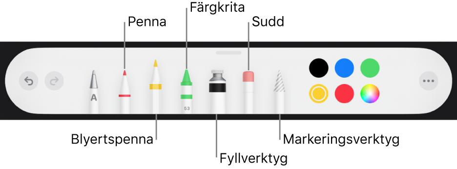 Ritverktygsfältet med en penna, blyertspenna, krita, fyllverktyg, sudd, markeringsverktyg och en färgkälla som visar den aktuella färgen.