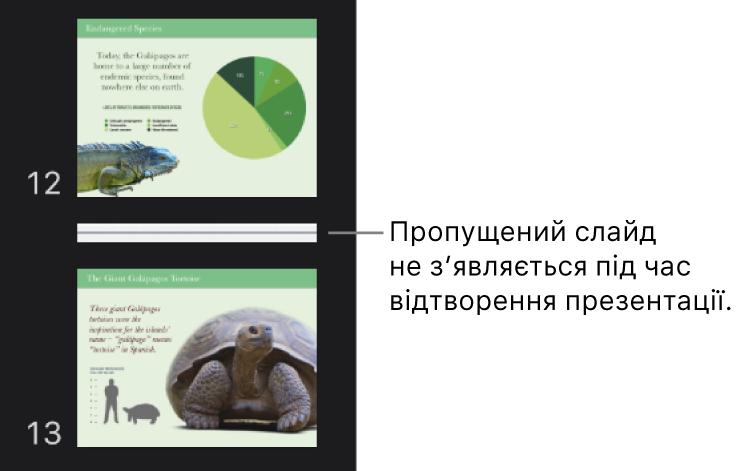 Навігатор слайдів із пропущеним слайдом у вигляді горизонтальної лінії.