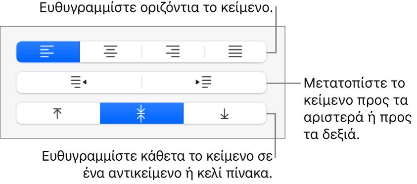 Η ενότητα «Στοίχιση» της πλαϊνής στήλης που δείχνει κουμπιά για τη στοίχιση κειμένου οριζόντια, τη μετακίνηση κειμένου αριστερά ή δεξιά, και τη στοίχιση κειμένου κατακόρυφα.