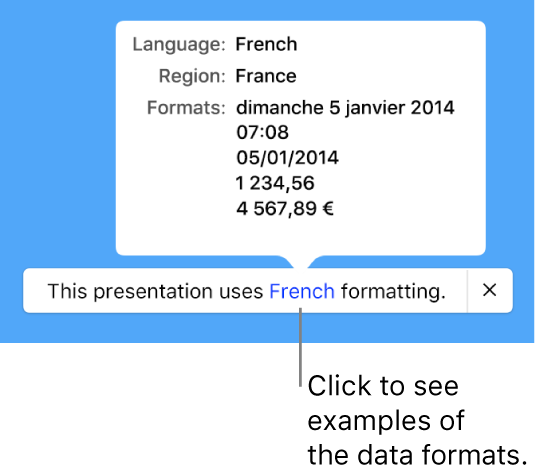 The notification of the different language and region setting, showing examples of the formatting in that language and region.