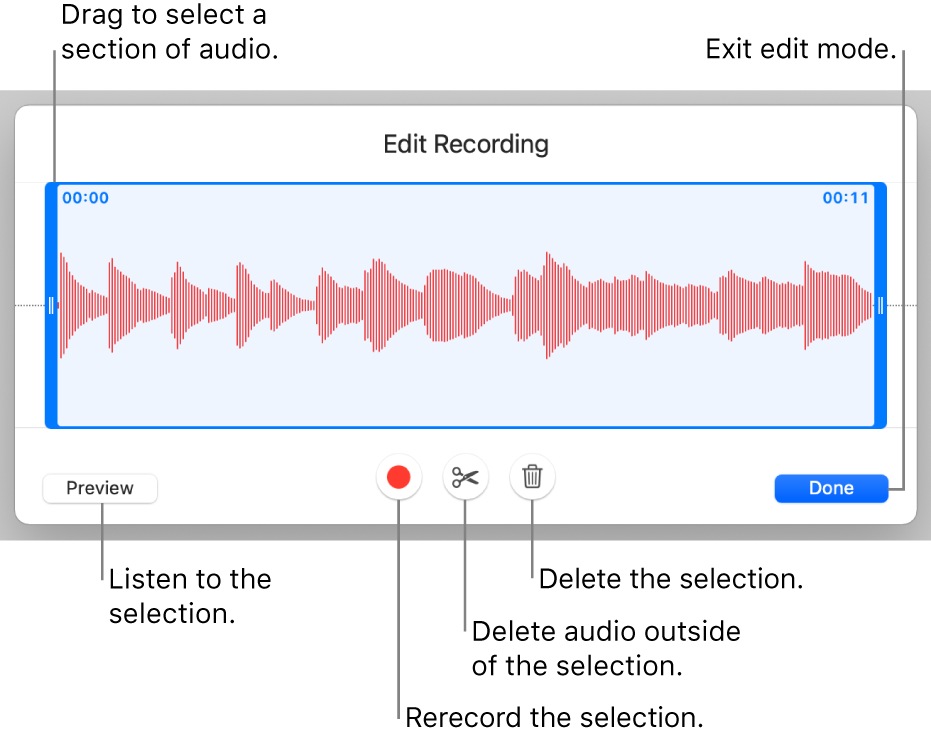 Controls for editing recorded audio. Handles indicate the selected section of the recording, and Preview, Record, Trim, Delete, and Edit Mode buttons are below.