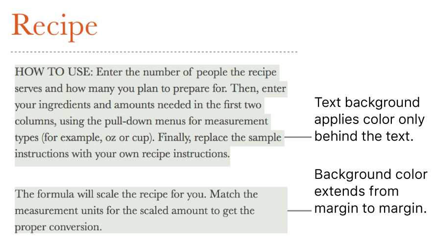 One paragraph with color behind only the text and a second paragraph with color behind it that extends from margin to margin in a block.