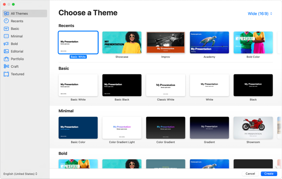 The theme chooser. A sidebar on the left lists theme categories you can click to filter options. On the right are thumbnails of predesigned themes arranged in rows by category. The theme size button is in the top-right corner, where you can set Standard or Wide format. The Language and Region pop-up menu is in the bottom-left corner and Cancel and Create buttons are in the bottom-right corner.