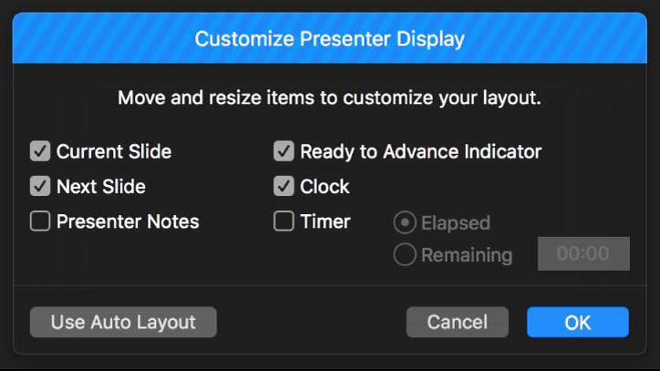 Customize Presenter Display dialog.