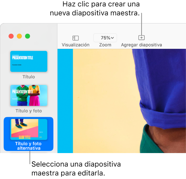 """Una diapositiva maestra en el lienzo de diapositivas con el botón """"Agregar diapositiva"""" sobre ella en la barra de herramientas."""