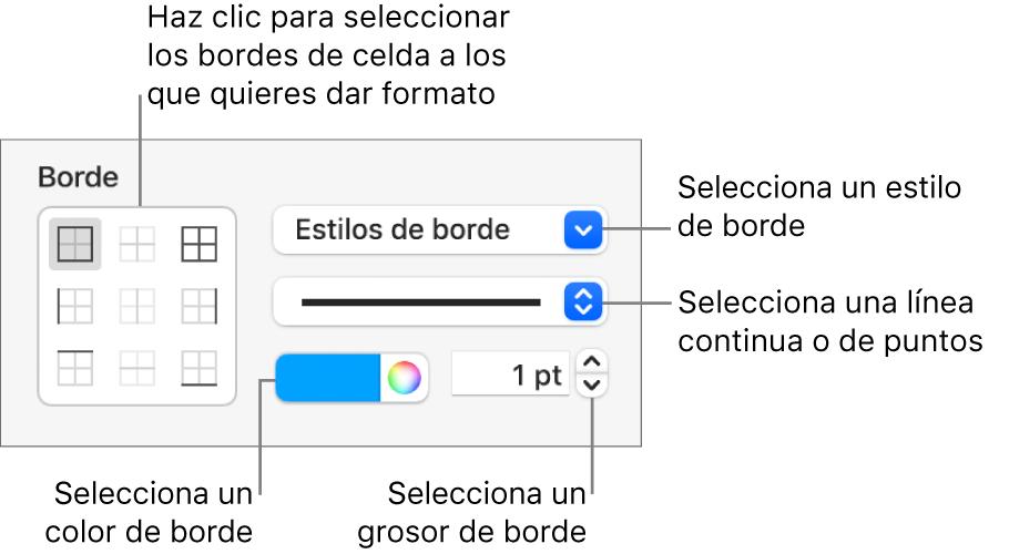 Controles de la barra lateral para cambiar el aspecto de los bordes de las celdas.