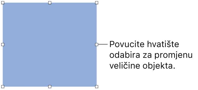 Objekt s bijelim kvadratima na rubu za primjenu veličine objekta.