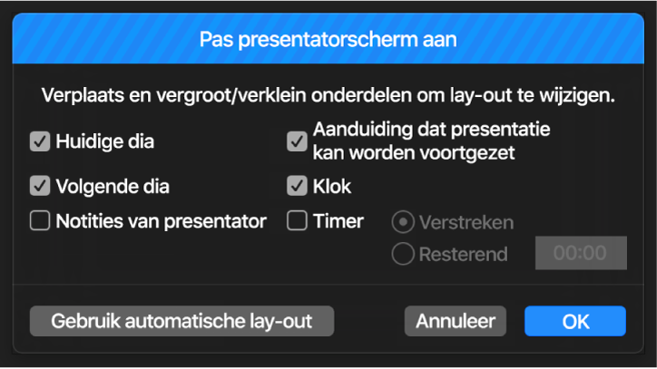 Dialoogvenster 'Pas presentatorscherm aan'.