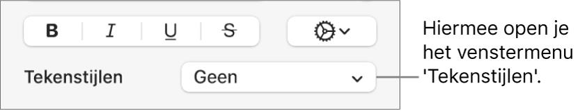 Het venstermenu 'Tekenstijlen' onder regelaars voor het wijzigen van de tekststijl en kleur.