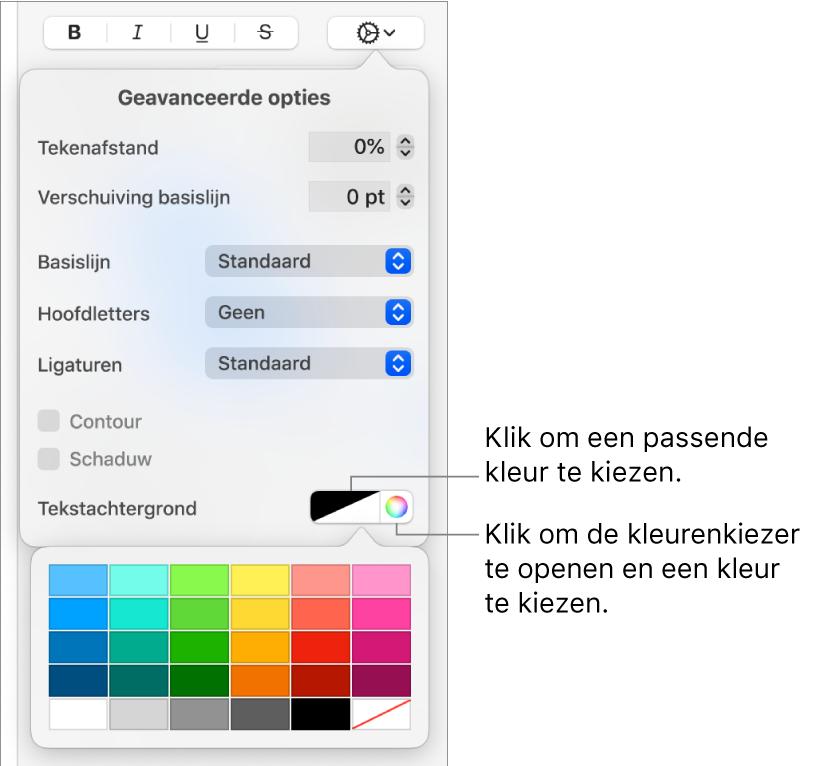 Regelaars voor het kiezen van een achtergrondkleur voor tekst.