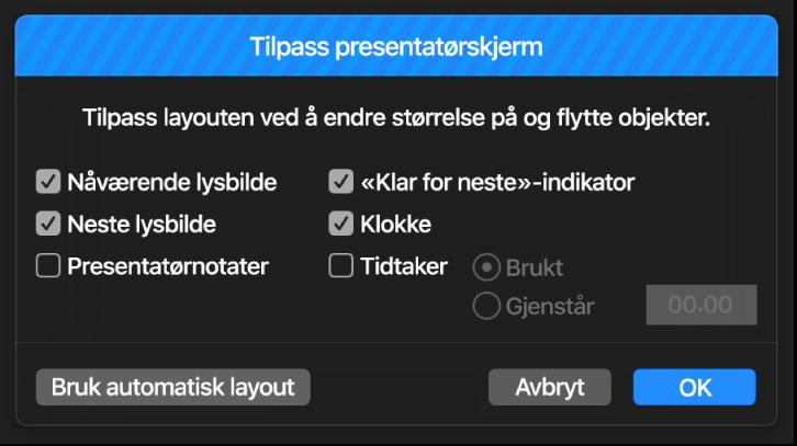 Tilpass presentatørskjerm-dialogruten.