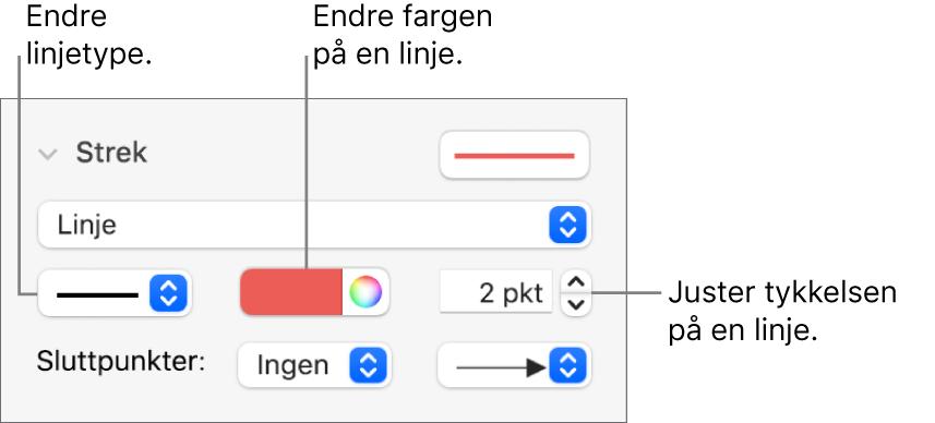 Strekkontroller for å angi sluttpunkter, linjetykkelse og farge.