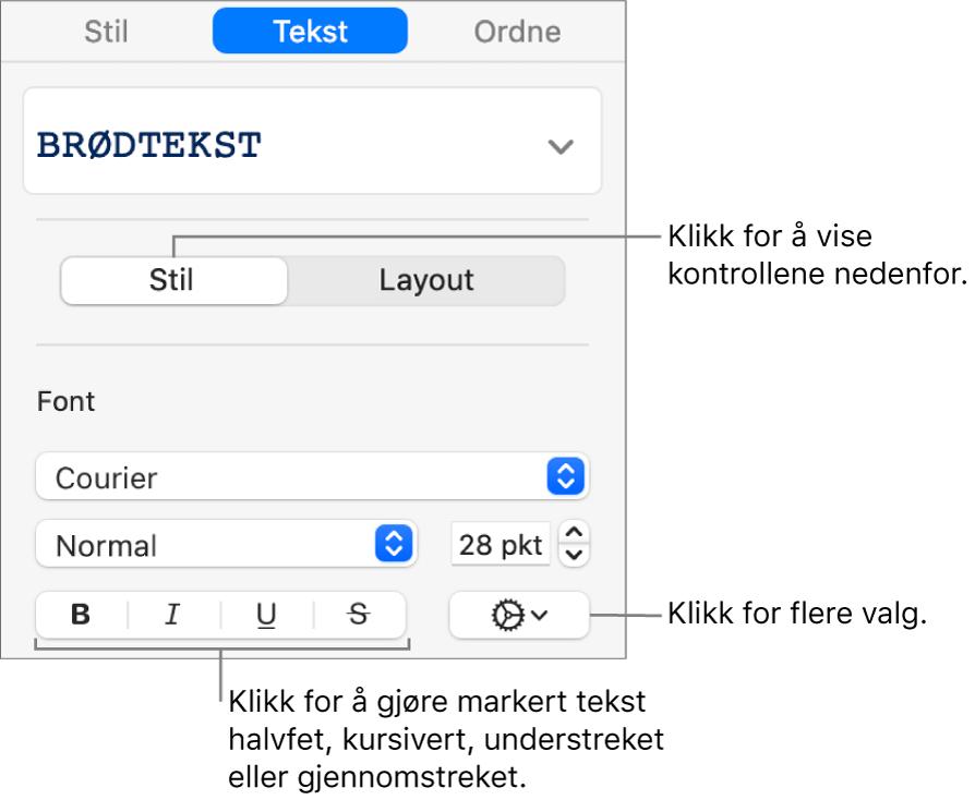 Stil-kontrollene i sidepanelet med bildeforklaringer for Halvfet-, Kursiv-, Understreket- og Gjennomstreket-knappene.