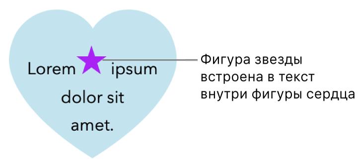 Фигура звезды, встроенная втекст внутри фигуры сердечка.