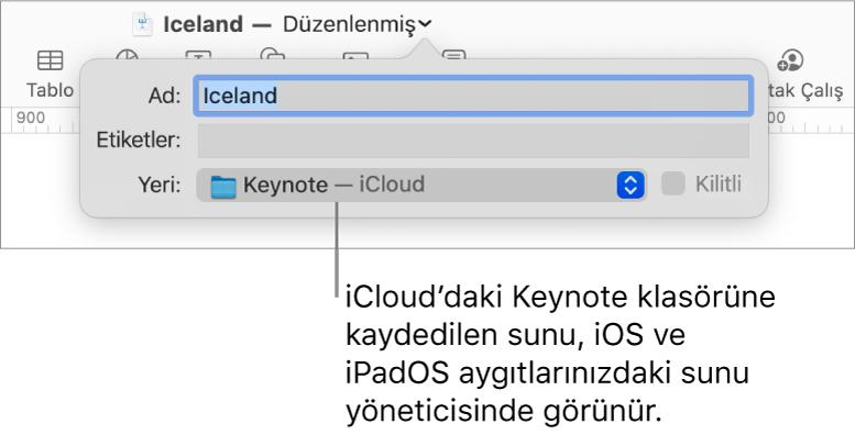 Nerede açılır menüsünde Keynote - iCloud içeren bir sunu için Kaydet iletişimi.