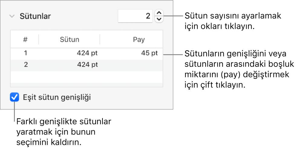 Sütun sayısını ve her bir sütunun genişliğini değiştirmek için sütunlar bölümündeki denetimler.