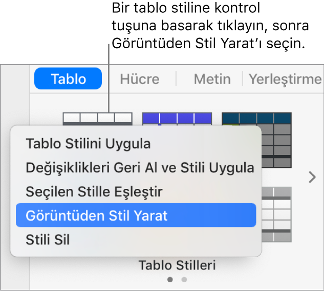 Tablo stili kestirme menüsü.