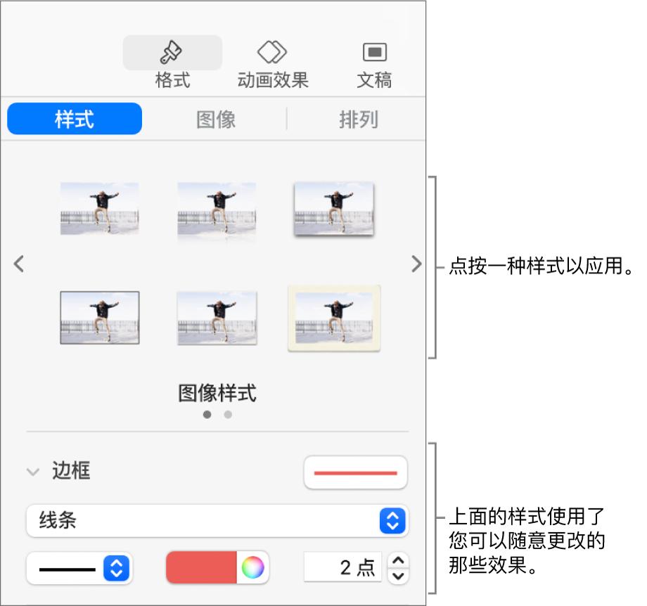 """显示对象样式选项的""""格式""""边栏的""""样式""""标签。"""