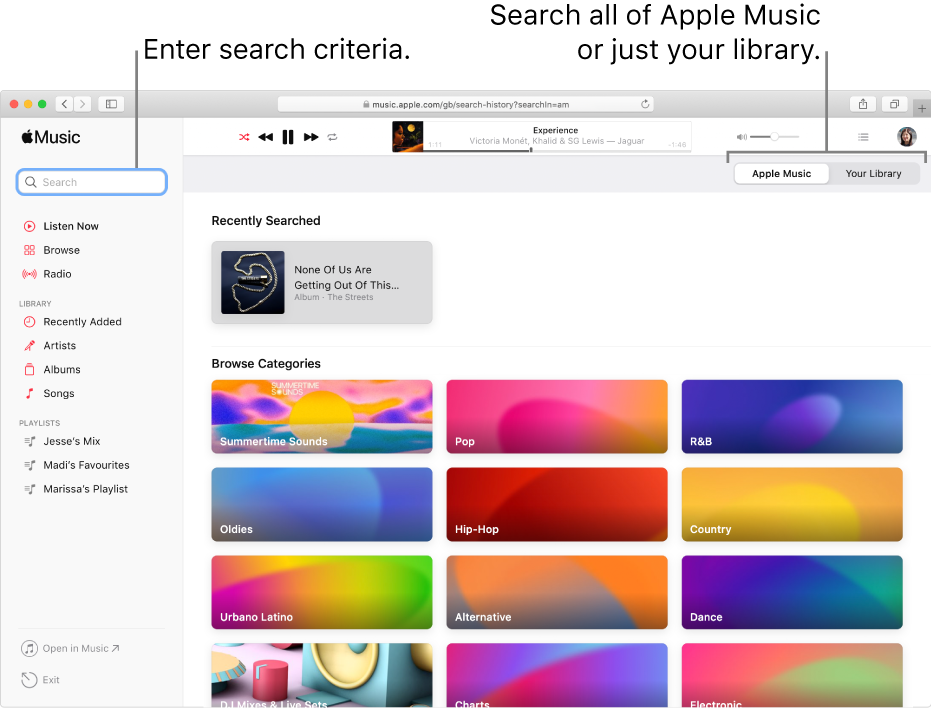 The Apple Music window showing the search field in the top-left corner, the list of categories in the centre of the window, and Apple Music or Your Library available in the top-right corner. Enter search criteria in the search field, then choose to search all of Apple Music or just your library.